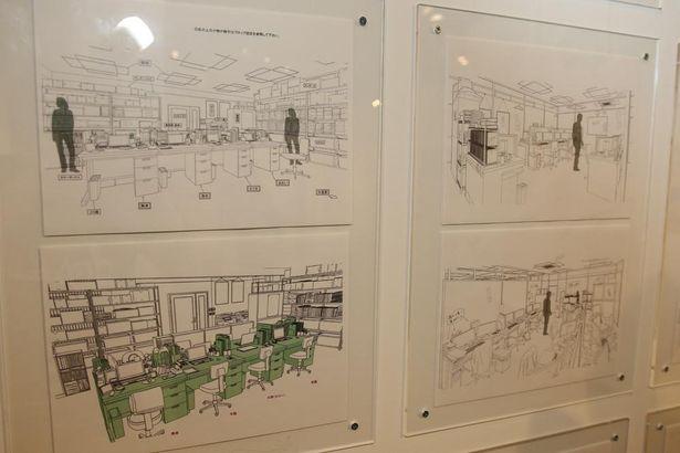 武蔵野アニメーションのフロアの美術設定。劇中に登場しないところも描き込まれている