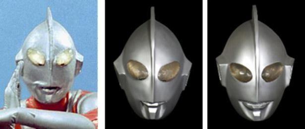 撮影で使われたウルトラマンのマスクたち。口元が変化している