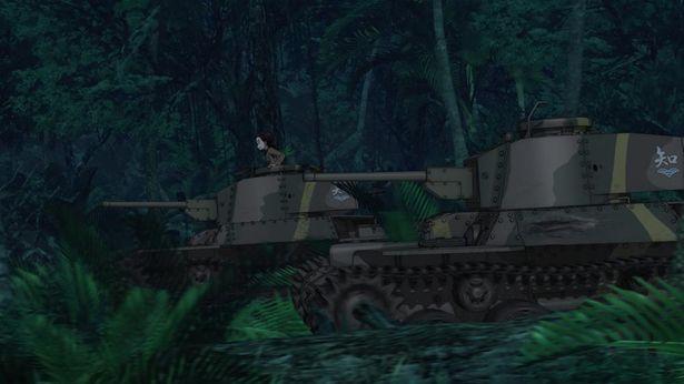 知波単学園の戦車が闇のなかを進む、大洗女子チームへ突撃!?