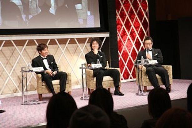 ドラマ「ROOKIES」からは小出恵介、桐谷健太、石丸彰彦プロデューサーが出席(写真左から)
