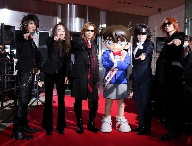 X JAPANとコナン君がそれぞれの決めポーズで集合!