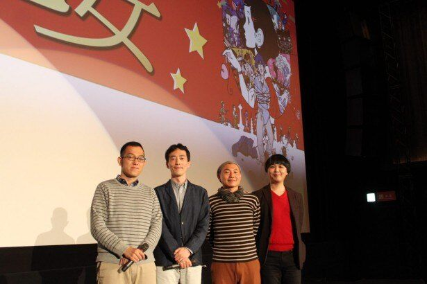 左から脚本の上田誠、原作の森見登美彦、湯浅政明監督、キャラクター原案の中村佑介