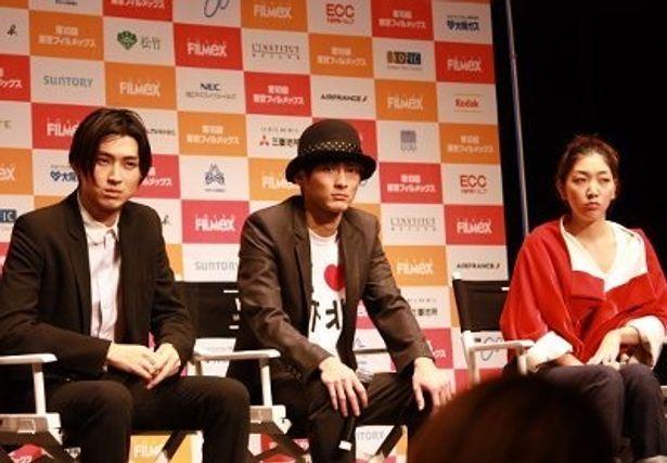 東京フィルメックスの観客からの質問に答える松田翔太たち