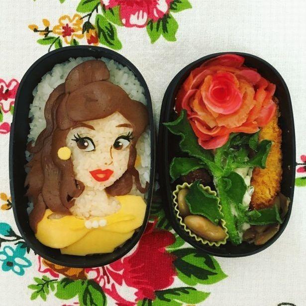 お弁当箱に中に、物語の可憐な世界観が!キャラ弁「美女と野獣弁当」(投稿者:ちえさん)