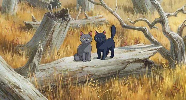 メアリが赤い館村で出会った猫コンビ、ティブ(黒)&ギブ(グレー)