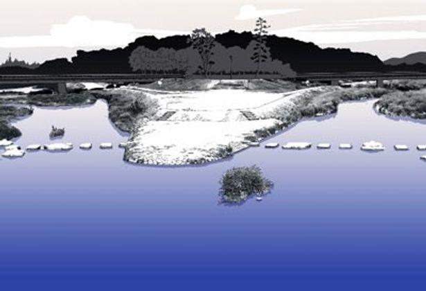 物語にたびたび登場する重要ポイント、京都の鴨川もバッチリ再現されている