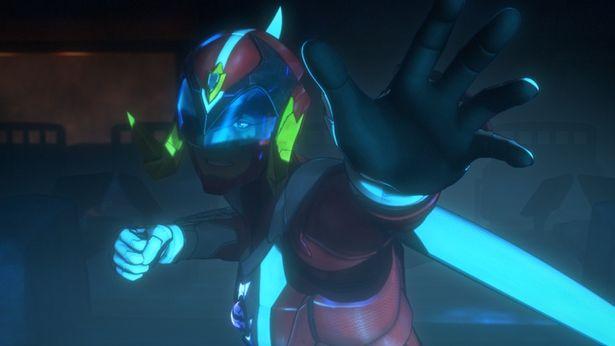 鎧武士(声:鈴村健一)は変身用ヘルメット・ポリメットで特殊粒子スーツに身を包みポリマーに転身する