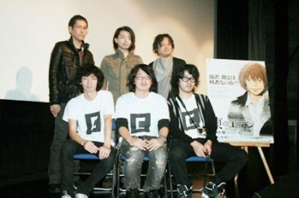 AR舞台あいさつに出席した神山健治監督、木村良平、檜山修之(後列左から)、AR三兄弟(前列)