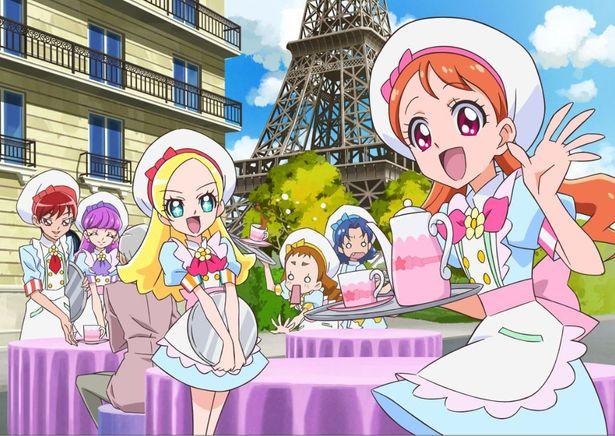 (左から)剣城あきら、琴爪ゆかり、キラ星シエル、有栖川ひまり、立神あおい、宇佐美いちかの6人が、パリで大活躍
