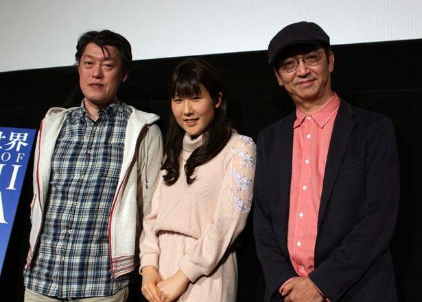 左から原恵一監督、作曲家の富貴晴美、トークショーの司会を務めた氷川竜介
