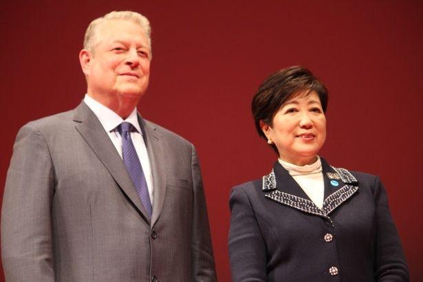 来日したアメリカ元副大統領のアル・ゴアと対面した小池百合子東京都知事