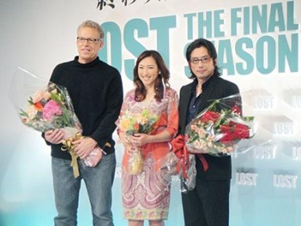 「LOST ファイナル・シーズン」のイベントに出席したのカールトン・キューズ氏、真田広之、杉山愛(左から)