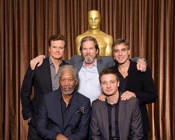 主演男優賞の候補者。上段左からコリン・ファース、ジェフ・ブリッジス、ジョージ・クルーニー、下段左からモーガン・フリーマン、ジェレミー・レナー
