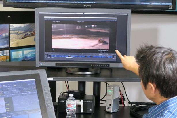 実際に原島氏が担当したシーンで制作過程を解説。アニメーションソフト上でマックィーンの動きをこまかく設定していくのだ