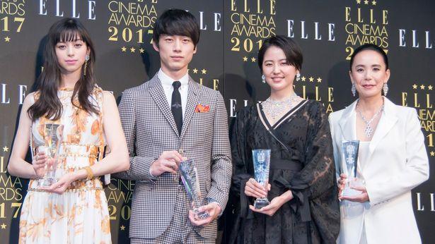 「エル シネマ大賞 2017 授賞式」に出席した中条あやみ、坂口健太郎、長澤まさみ、河瀬直美監督