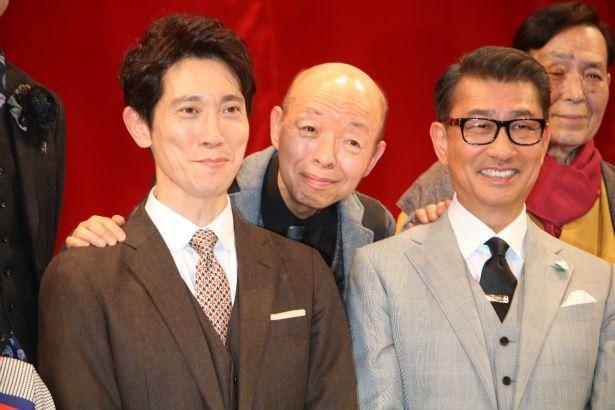 『嘘八百』で共演した中井貴一、佐々木蔵之介、坂田利夫