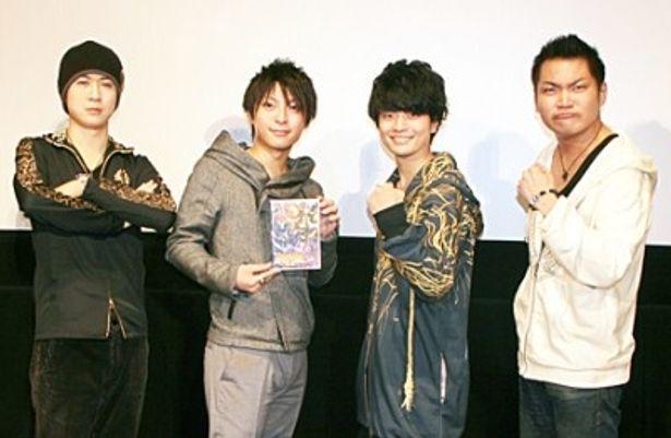 イベントに登場した杉田智和、柿原徹也、福山潤、三宅健太(写真左から)