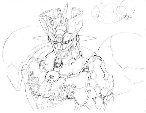 柳瀬敬之によるマジンガーZの設定画(バストアップ・ブレストファイヤー部分を外した状態)