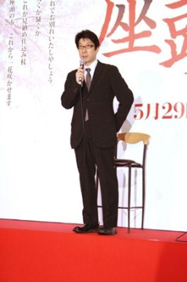 映画「座頭市 THE LAST」の報告会に出席した阪本順治監督