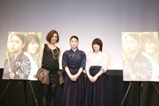 映画「武士道シックスティーン」のプレミア試写会に登場したMiChi、成海璃子、北乃きい