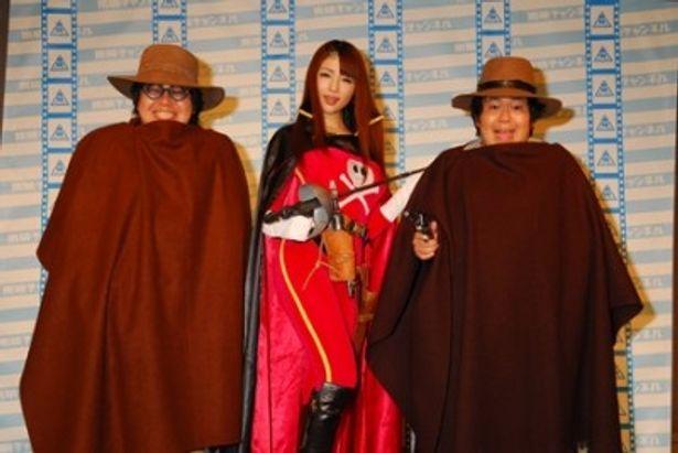 特別番組「松本零士インタビュー」応援会見に出席した森下悠里(写真中央)とザ・たっち