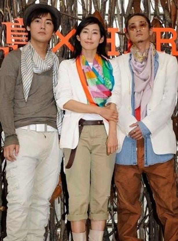 『東京島』の会見がメゾン エルメスで開催。左から、福士誠治、木村多江、窪塚洋介