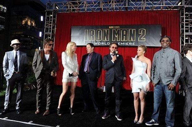 『アイアンマン2』でロバート・ダウニー・Jr.らメインキャスト&スタッフが勢ぞろい!