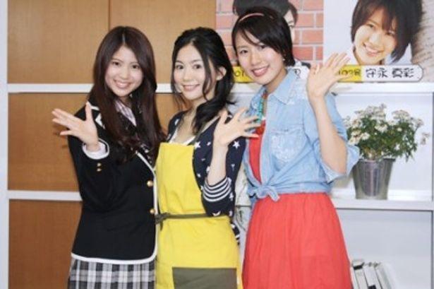 「恋のカイトウ!?トモコレ2世」の制作発表会見に出席した西崎莉麻、関根麻里、守永真彩(左から)