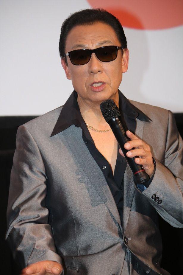 『孤狼の血』の試写会に登壇した梅沢富美男