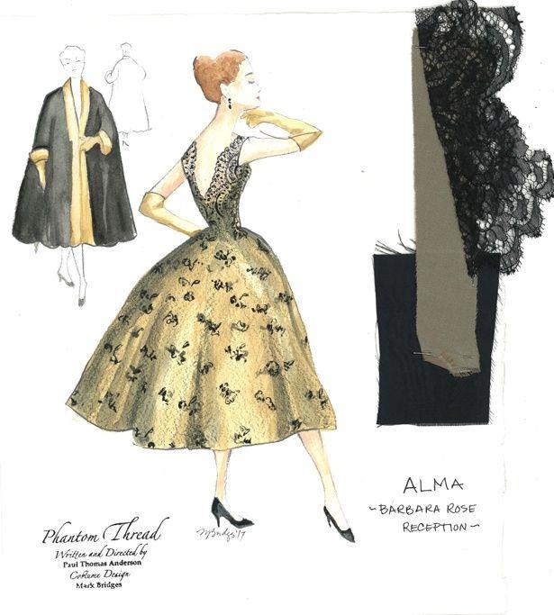 『ファントム・スレッド』でアカデミー賞を獲得したデザイナー、マーク・ブリッジス直筆のスケッチ画