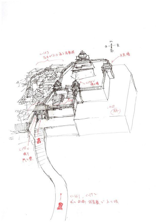 城まわりの設定図。バットモービルの速さと城下町の道の距離の辻褄をあわせて長尺のワンカットにおさめる作業が行われた