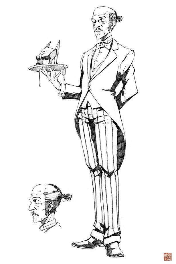 『ニンジャバットマン』より、ブルース・ウェインの忠実な執事・アルフレッドのスケッチ