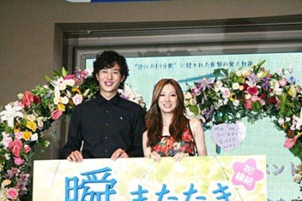 映画「瞬 またたき」の公開直前イベントに出席した岡田将生、北川景子(写真左から)