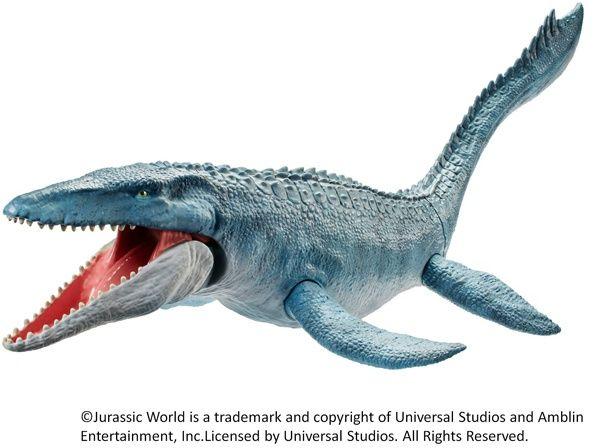 劇中最大級の大きさを誇るモササウルス。ウロコの質感がリアル!