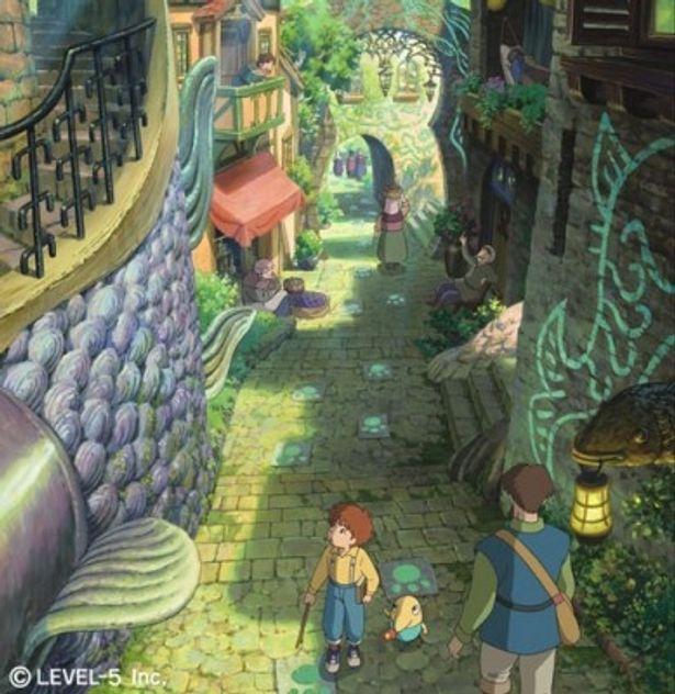 ファンタジックな街並みを歩く主人公オリバーと妖精のシズク