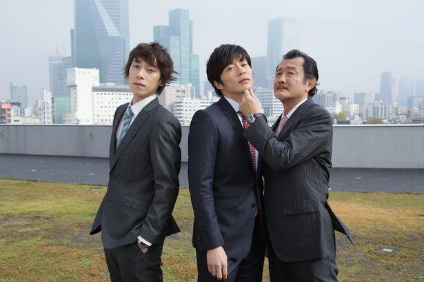 16年末に放送された単発ドラマの主要キャスト。左から落合モトキ、田中圭、吉田鋼太郎