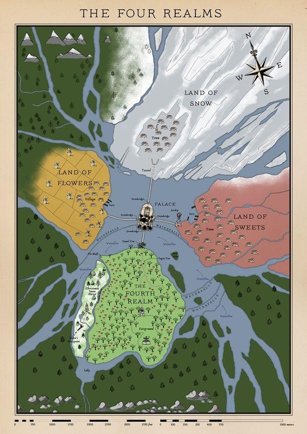 """これがクララが迷い込む4つの国とその真ん中に位置する宮殿からなる""""秘密の王国""""だ"""