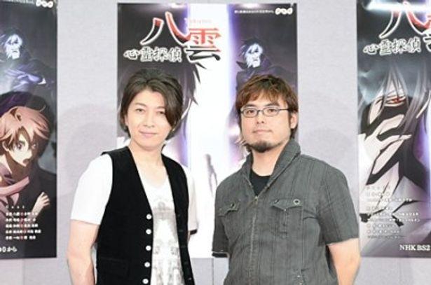会見に出席した小野大輔、黒川智之監督(写真左から)