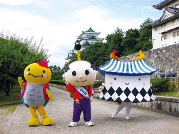 名古屋市のだなも(左)、はち丸(中央)、エビザベス(右)は2日間通して登場