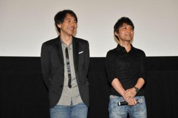 『REDLINE』プレミア試写会の舞台挨拶に登壇した、左から石井克人、小池健監督