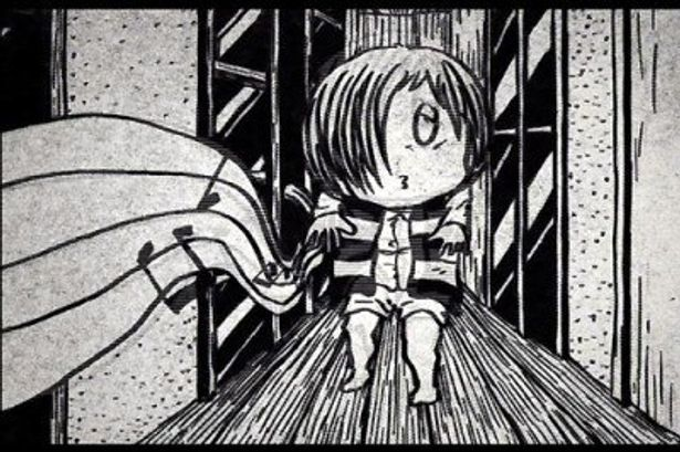 漫画の中の鬼太郎たちが動き回るアニメーションが展開