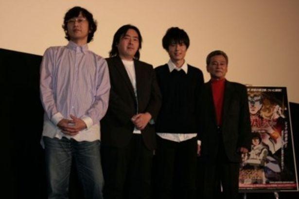 「機動戦士ガンダムUC(ユニコーン)」のイベント上映に出席した古橋一浩監督、福井晴敏、内山昂輝、池田秀一(写真左から)