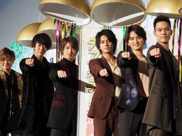 映画『チア男子』初日舞台挨拶に登壇した横浜流星、中尾暢樹たち