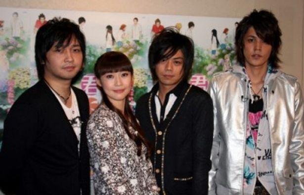 アフレコ会見に出席した中村悠一、能登麻美子、浪川大輔、宮野真守(写真左から)
