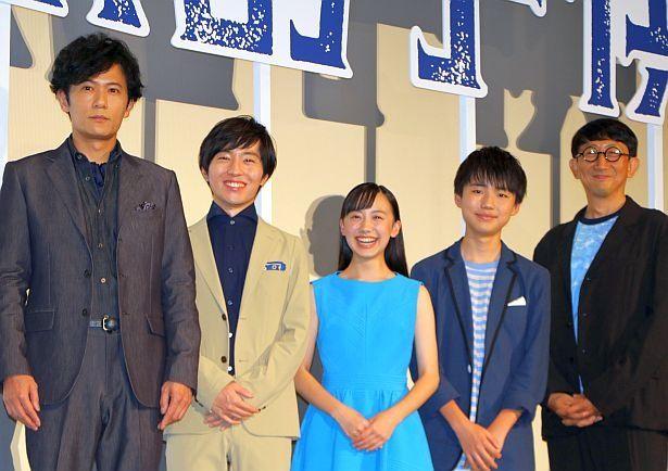 稲垣吾郎、浦上晟周、芦田愛菜、石橋陽彩、渡辺歩監督が登壇(左から)