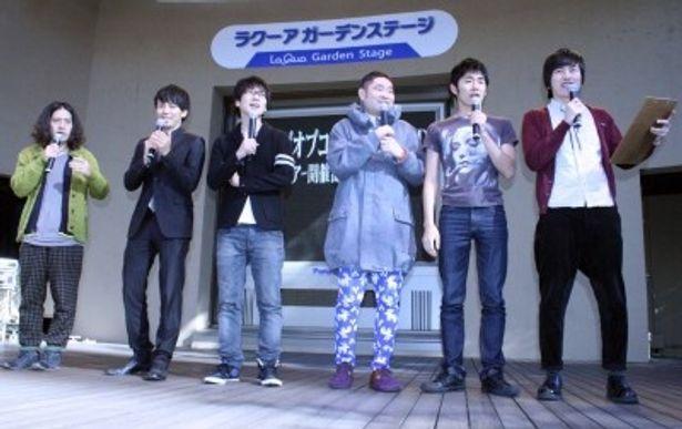 「キングオブコント 2010」DVD発売記念イベントに登場したピース、キングオブコメディ、しずる(写真左から)