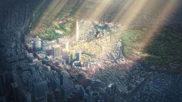 光が差し込む美しい新宿の街並み