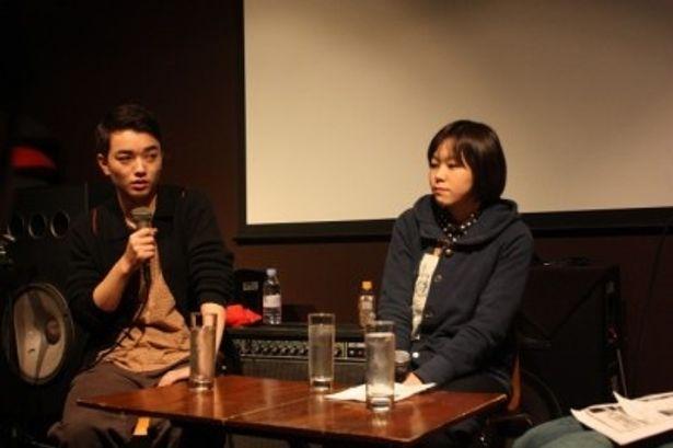 『嘘つきみーくんと壊れたまーちゃん』の公開記念イベントに登場した染谷将太、瀬田なつき監督