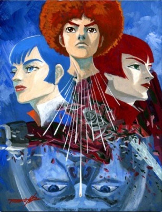 アフロヘアーのユウキ・コスモ(中)など、登場人物たちの奇抜な髪型やファッションにも注目