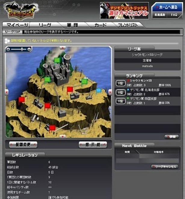 デジモン軍団を操り、より多くの陣地を獲得したプレーヤーが勝者となる